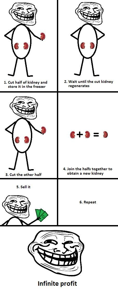 troll biology. sorry if it's a repost. I haven't seen it before. h. Cut half of kidney and 2. Wait until the nut kidney stare it in the freezer regenerates a Ja