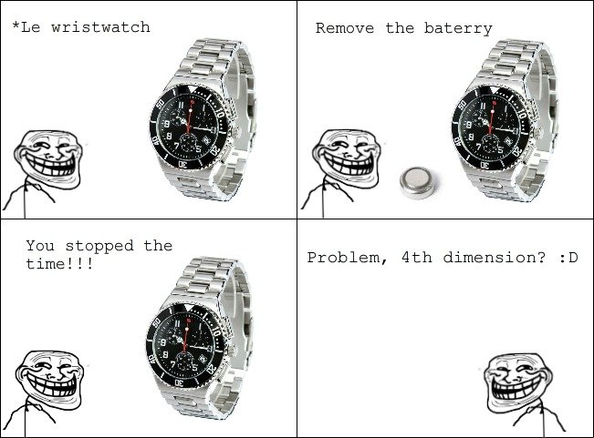 troll. . Le wristwatch _ Remove the battery You stopped time!!! Problem, tth dimension?