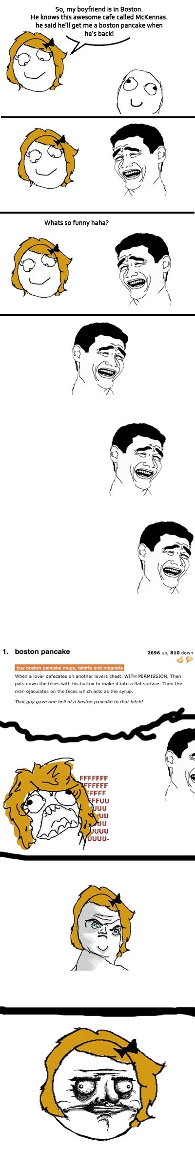 Troll BF. . So, my boyfriend is In Europen. He hm we awesomne cafe called Millenias. he said he' ll get me a hasten pancake when his back! Whats so funny ha ha?