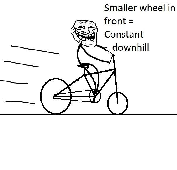 troll bike. lol. Smaller wheel in