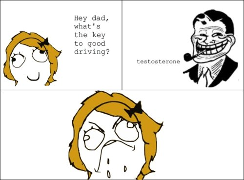 Troll Dad. Thumbs are appreciated. Hey dad, what' s the key to good driving? testosterone. I concur