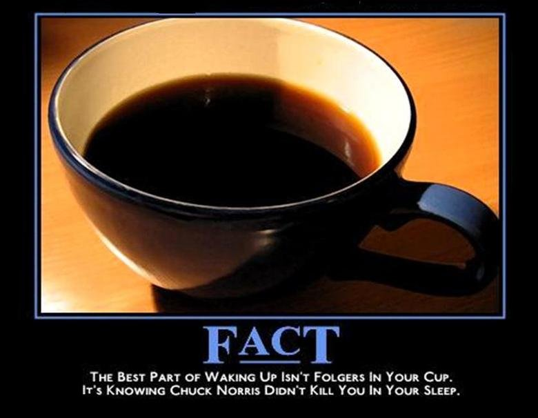 Tru Fax. . THE BEST PART or WAKING UP astir FOLGERS In YOUR Cur. IT': CHUCK Norms DIDN' T KILL You In YOUR SLEEP.