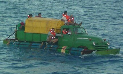 Truck Raft. .. so thats the cubans mode of transportation across to america now