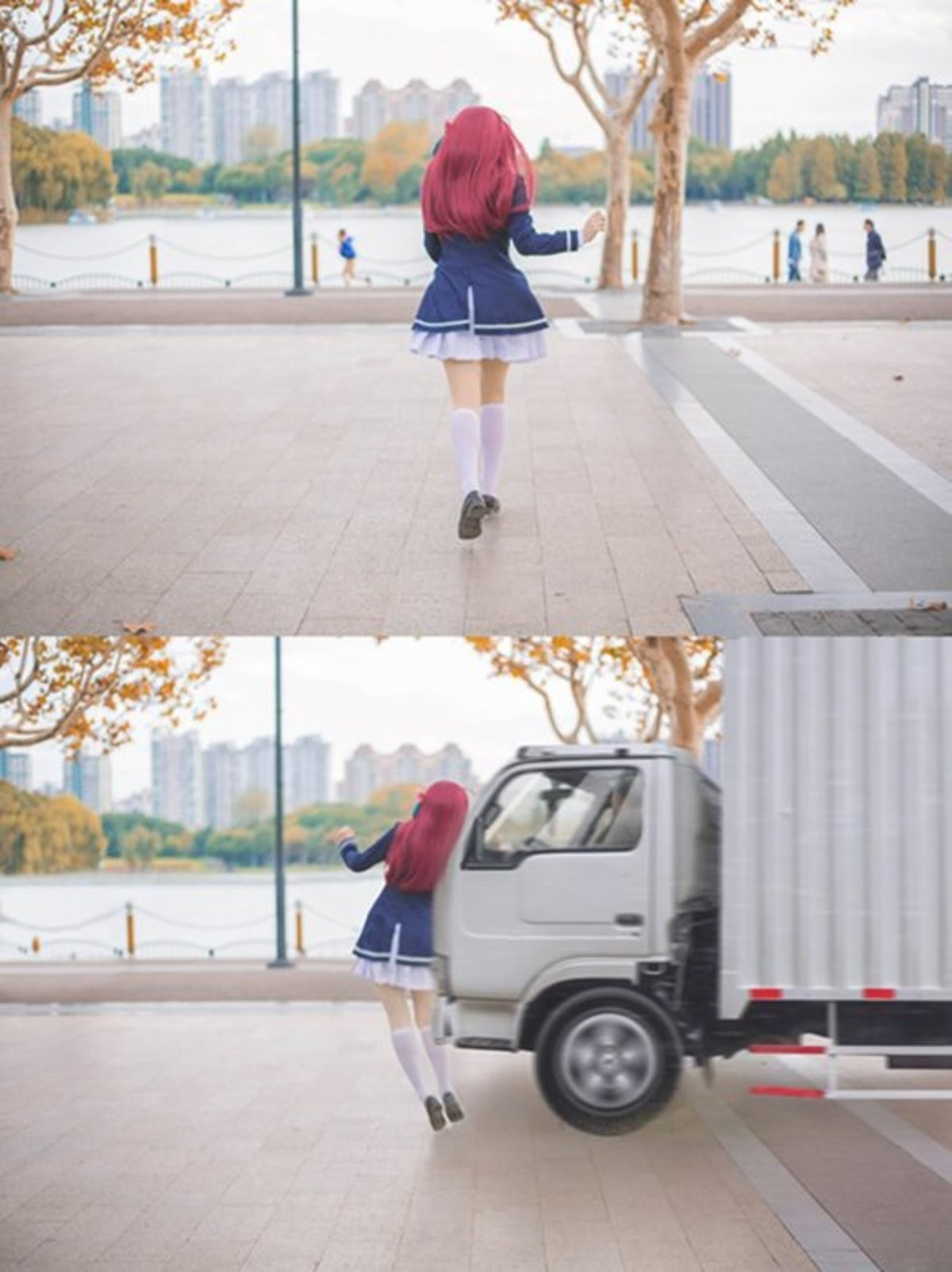 Truck-kun in live action. Poor editing but had me laugh for a second.. look both ways man. always look both ways.