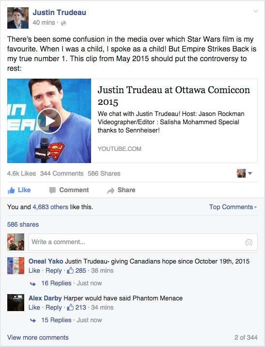 Trudeau at Comic Con. Prime Minister Justin Trudeau clears the air on which Star Wars movie he likes. He is a pretty legit PM. . ll Justin Trudeau lla 40 mins I