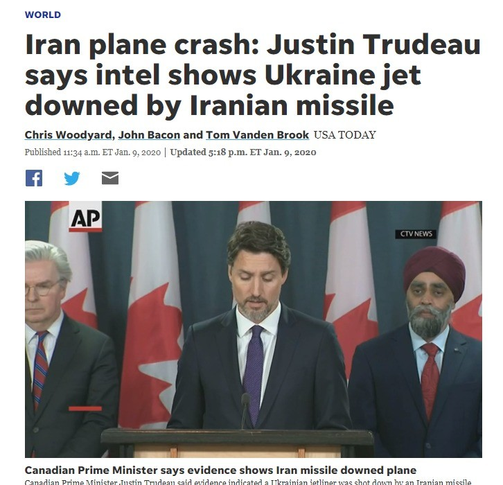 Trudeau says Iran shot down flight with canadians. .. TRUDEAU DO SOMETHING YOU SPINELESS COWARD