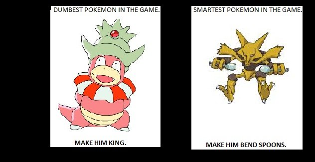True. Description. DUMBEST POKEM ON IN THE GANA E. SMARTEST POKEON ON IN THE GANA E. MAKE HIM KING. MAKE HIM BEND spoons.. The spoons amplify Alakazam's psychic powers. That's why it carries them. They also allow it to see why kids love the taste of Cinnamon Toast Crunch.