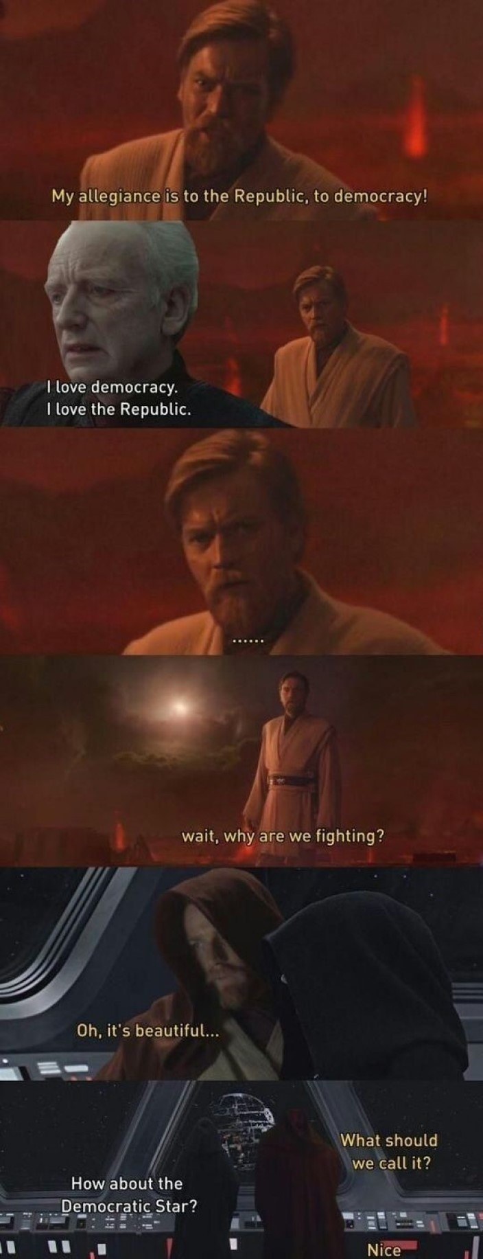 true edning. .. Is there a theoretical future where the republic remained good and palpatine was usurped by investigative Jedi