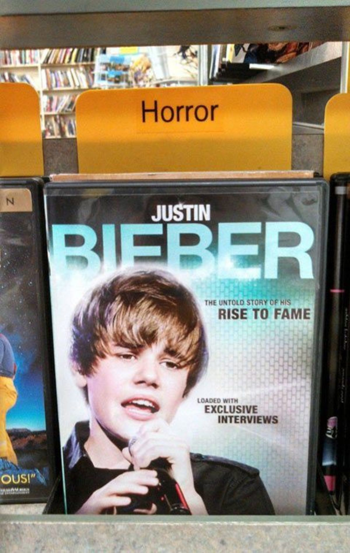 True Horror. .. holy I think that's the one made by the guys who never had the right to actually show Beiber, so they just show fangirls talking about him? if it is I highly re