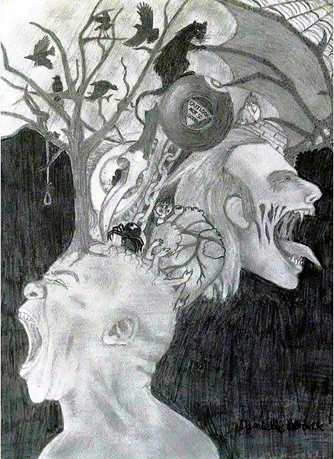 """True Horrors Lie Within the Mind. I just sketched this for a class. I know it's not funny, but I just felt like sharing it... Not trying to sound like an ass or anything, but why do most people that draw always draw some """"deep emotional trauma""""? What an angsty generation. It'"""