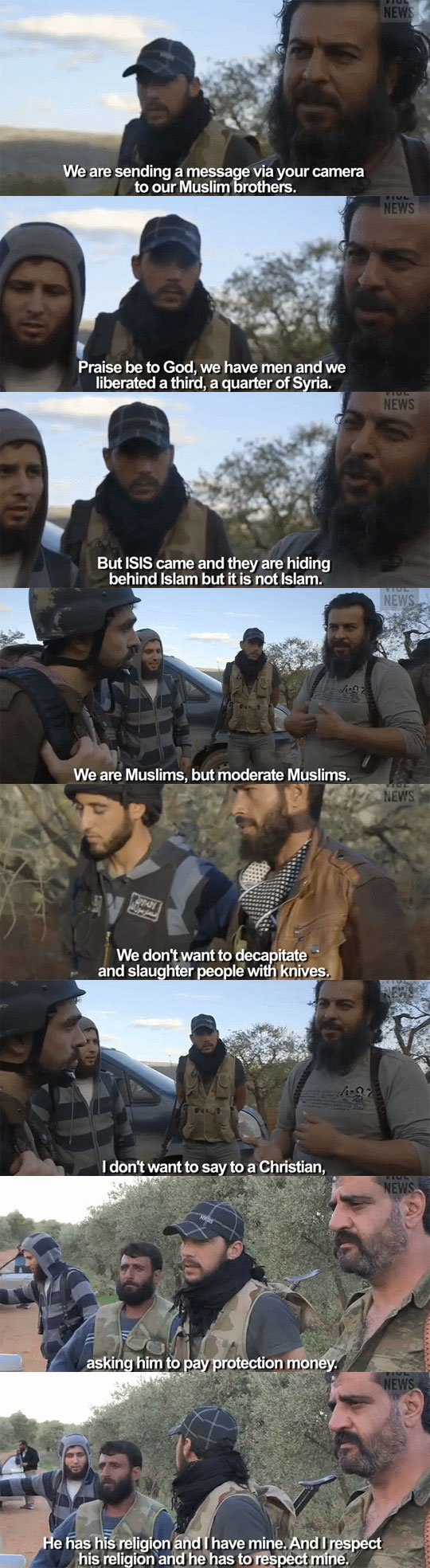 True Islam. . We are sending a messes e via your camera to our Muslim rathers. Praise be to God, we have men and we liberated a third, a quarter of til lie. But