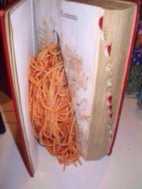 true Italian. when the teacher thinks your studying but really you're eating spaghetti.. These new age pop-up books are really weird.