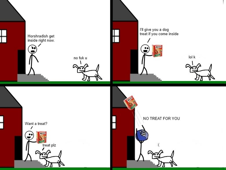 True I lied comic (TOOK ME 2 MONTHS). I did this today. Flt give you a dog Horseradish get treat Hymn come inside inside right now. NO TREAT FOR YOU Want a tre