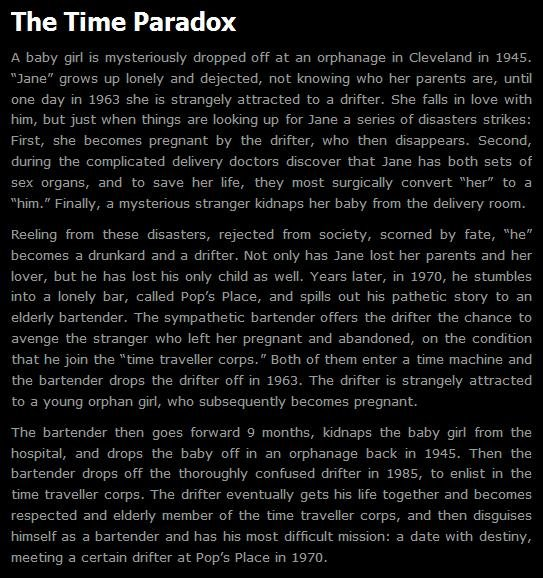 "True Mind. My mind is full of after reading this.. The Time Paradox A baby girl is mysteriously dropped off at an orphanage in Cleveland in 1945. Wane"" grows up"