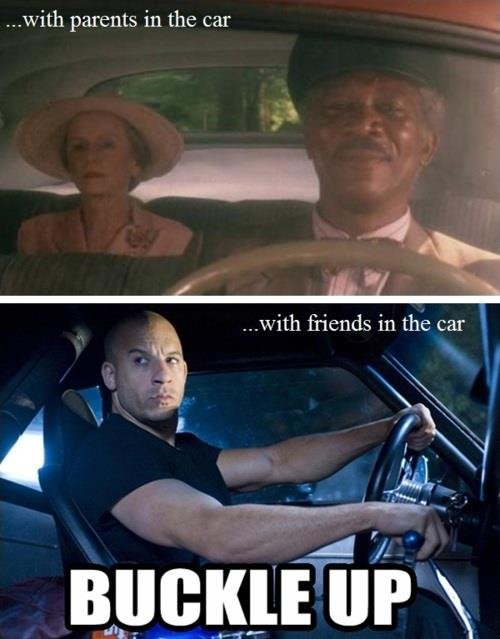 True. . v. -' parents in the car Aha. u.' itle friends, in the car