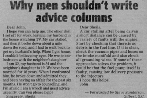 True LAD. Found and shared.... Why men shouldn' t write advice columns Deer. Jean. him. he mute dawn mama they and Deer Sheila, A an stalling After being a shor