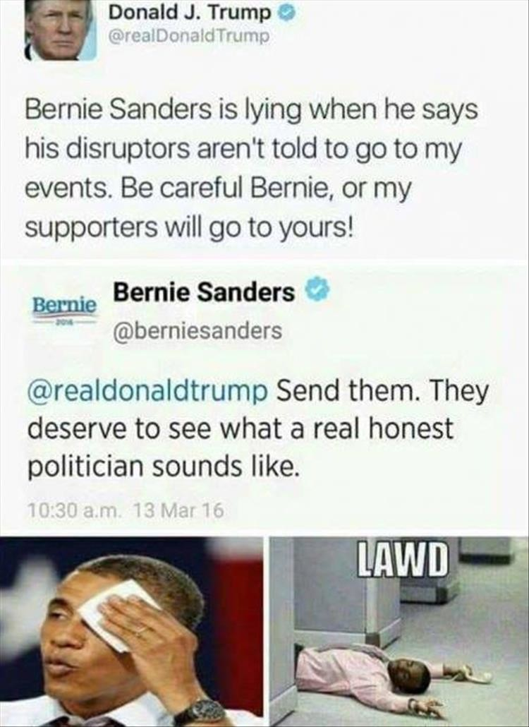 trump vs. sernie banders. .. Coming from any Democrat