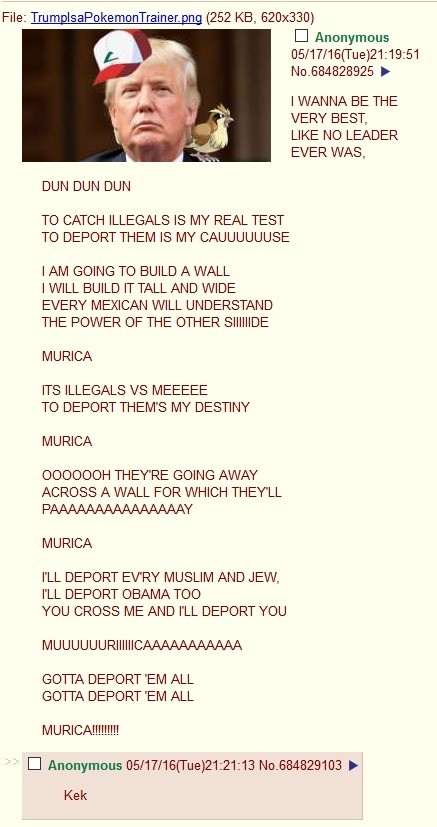 Trump wants to be the very best. .. It started out well, but it doesn't really fit up that well with the actual song. A for effort though!
