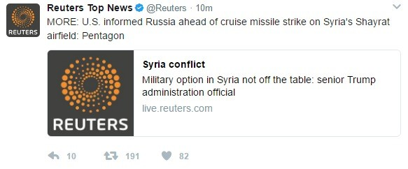 Trump warned Russia prior to airstrike. Source: conflict?utmsource=twitter&utm_medium=Social. Reuters Top News Hi @Reuters . Him V MORE: LLB. informed Russi