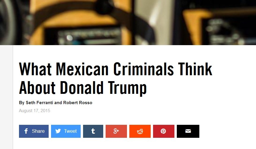 Trump was right. and the most infuriating thing . . . join list: trump (17 subs)Mention History. What Mexican Criminals Think About Donald Trump By Seth Ferrarr