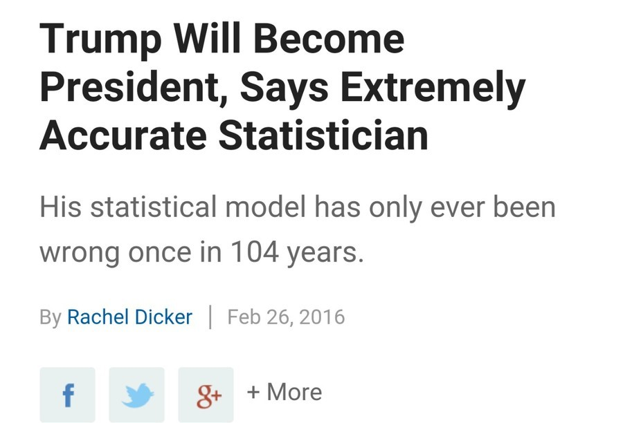 Trump will win. .. I need a tie-breaker here: how often has the Mexican Warlock been wrong in the last 104 years?