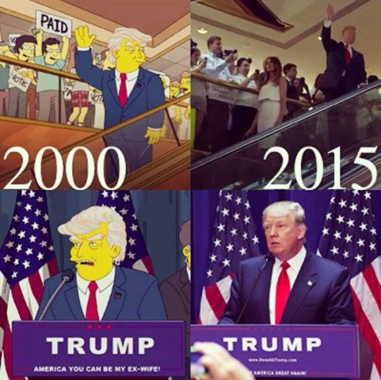 TRUMP'D. . f In 'ii. according to the ever reliable Wikisimpsons, Donald Trump's first apperance was in the episode Hardly Kirk-ing. which aired Feb 17th 2013. a full 13 years after