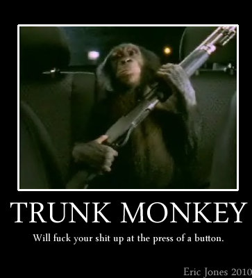 Trunk Monkey. I miss these commercials... Backseat monkey, not trunk monkey. Dumbass!.............................penis