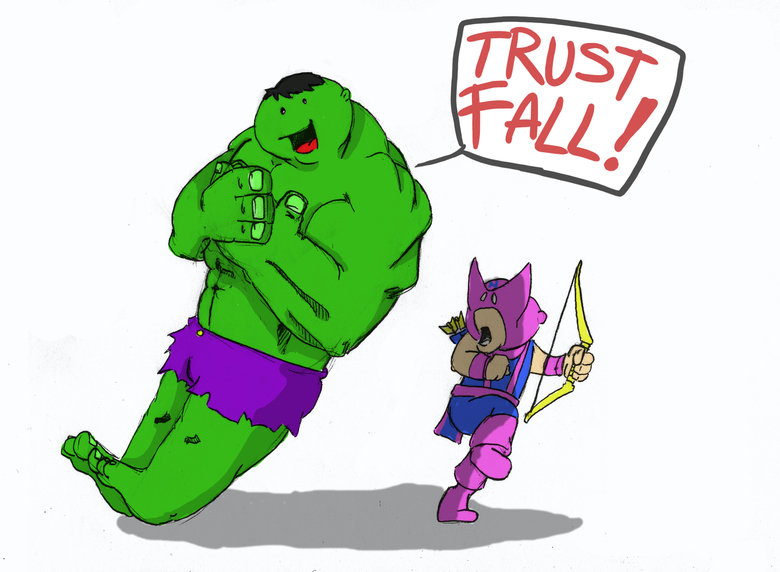 TRUST FALL OC. Did up another cartoon. hope you like it!.