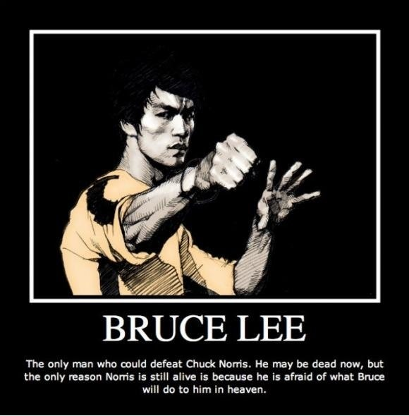 truth. description. BRUCE LEE The only man who meld defeat Chuck Norris. He may be dead now, but the oinly reason Norris is still alive is because he is afraid