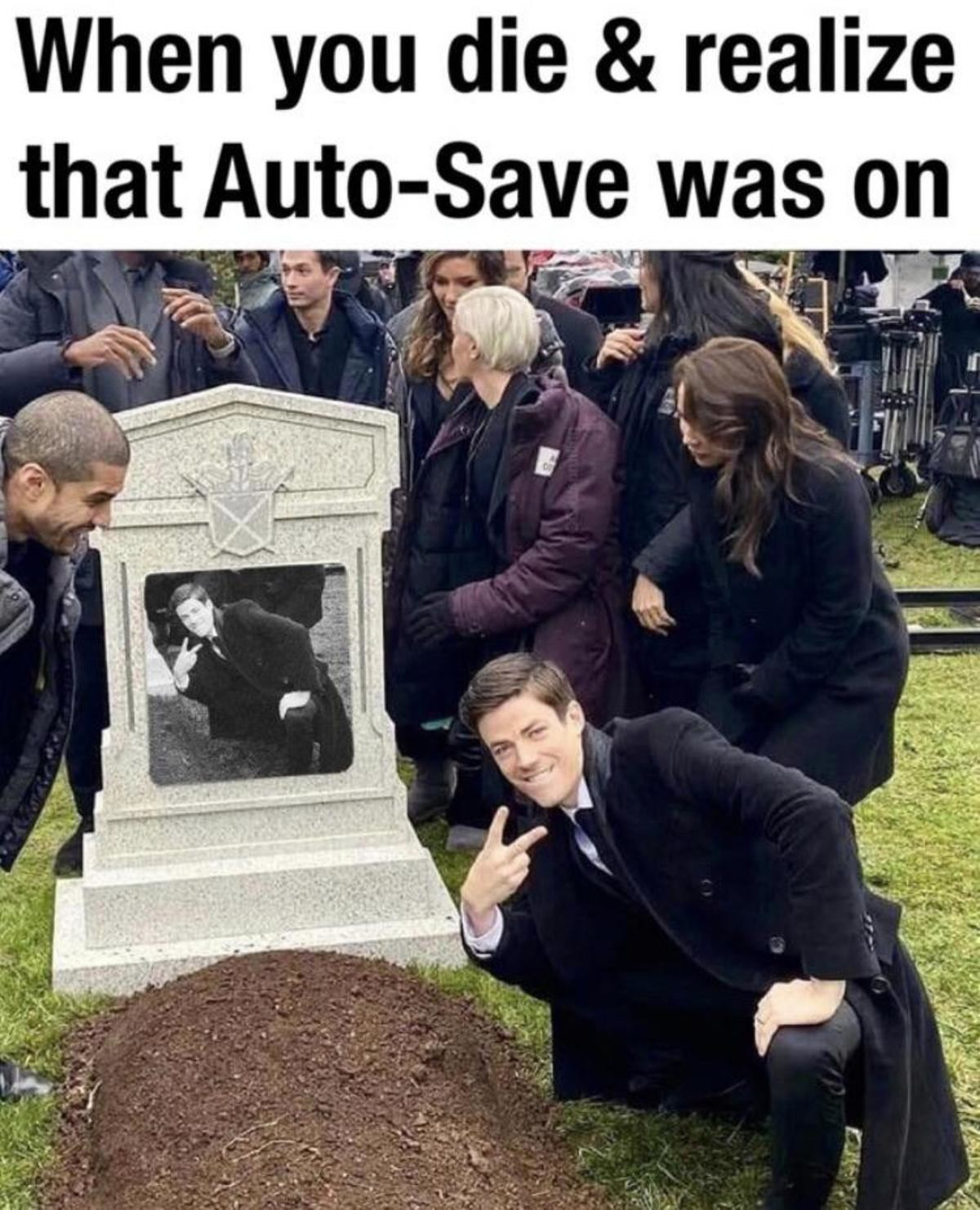 truuu 😂😂😂. .. For those unaware, you can see tracks for a camera dolly. And a of film equipment. He's not just posing next to a fresh grave.Comment edited at .