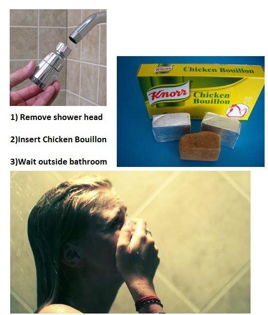 try it. . Remove shower head reinsert Chicken Bouillon 3} Wait outside bathroom