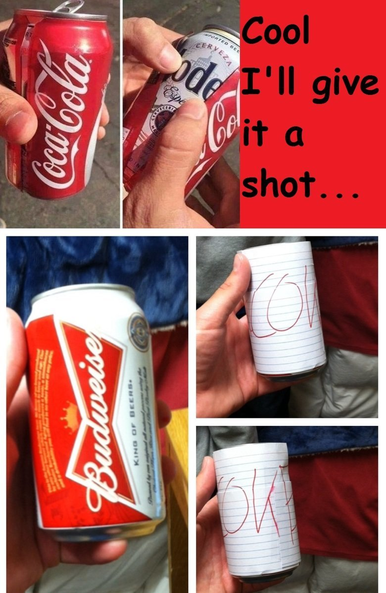 Try It. .. Or you could just pour the beer into the soda can...