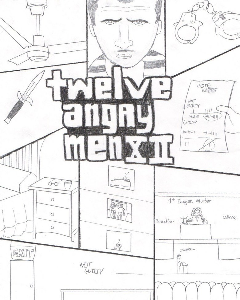 "Twelve Angry Men. Basically: This is the ""Twelve Angry Men"" version of the GTA4 game cover. Drawn by me :3.. I really enjoyed Twelve Angry Men, and this is just awesome!"