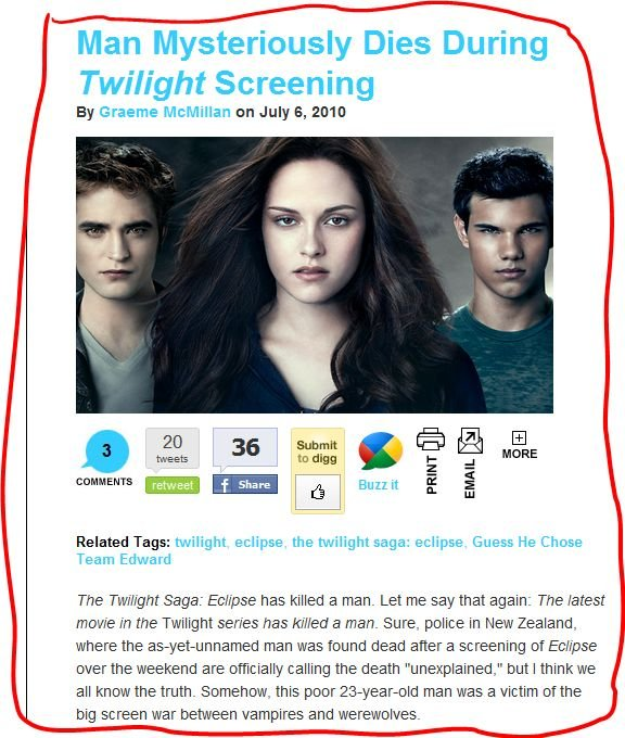 TwiDeath. the price of watching Twilight. Man [mysteriously Dies During Twilight Screening By Graeme en July 5, tweets . dug tta l , l will an 36 Submit , Itll)