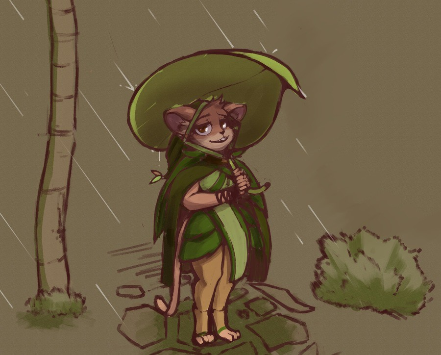 Twig walking home. I should do work on the mouse people and the city-state they have which Twig is a part of. Here's a Twig in the rain comm. Done by Freepancak