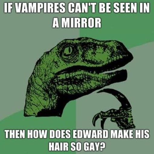 Twilight Edward. . IE VAMPIRE RANT BE SEEN IN h MIRROR THEN MW Bots EDWARD MAKE HIS HAIR GAY?. He's a fairy, dumbass
