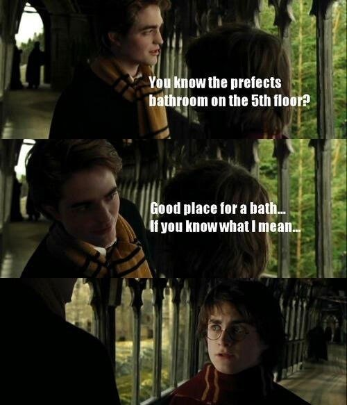 "Twilight meets Harry Potter. Source: . Bti. an the ? mun mean,. This scene is even worse in Finnish. The word for egg also means . So here it sounds like: ""Take your and mull things over in hot water"". There isn't"