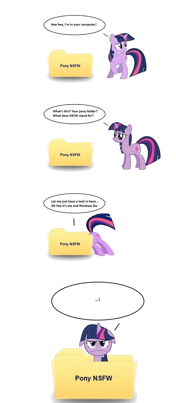 "Twilight NO!. . Whit' 5 this?' ""I"" uur puny Faultier? l-. What doeas G' urp, stand far? Pony HEW"