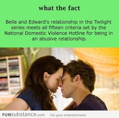 Twilight. Not sure if repost.. what the fact Bella and Edward' s relationship in the Twilight series meets all fifteen criteria set by the National Domestic Vio