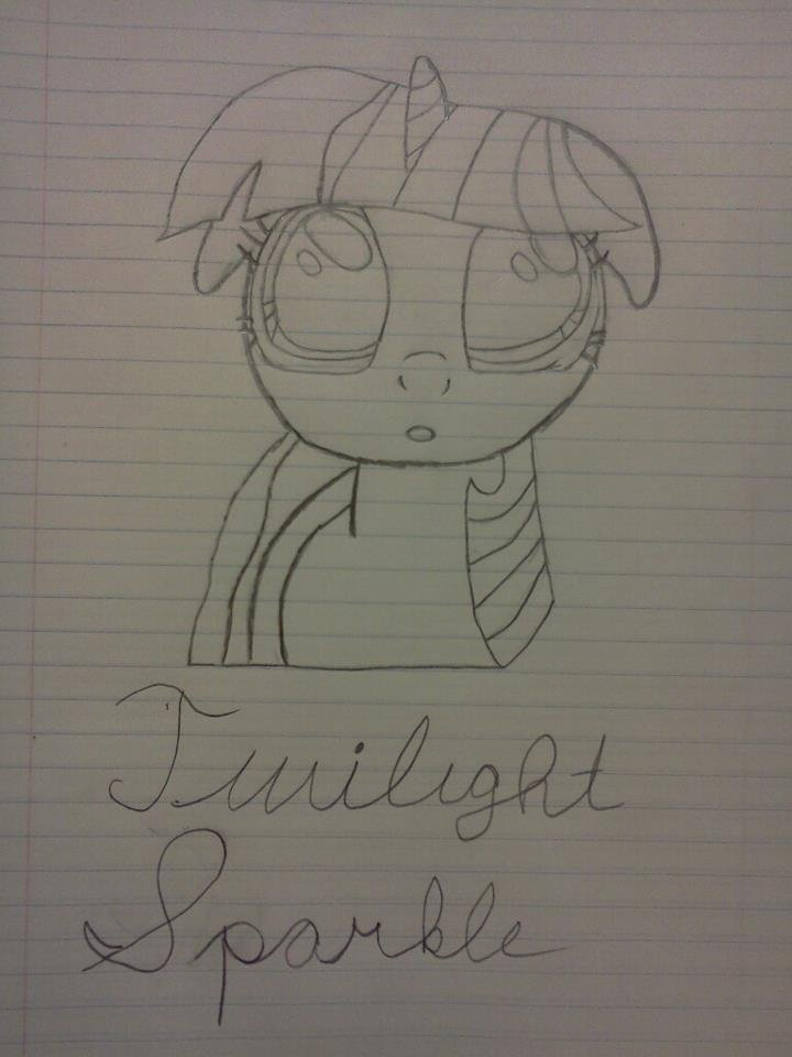 Twilight Sparkle Drawing (Description). This is a drawing I made. I did not trace this at all. And this is my first ever attempt to draw any of the mane 6 with