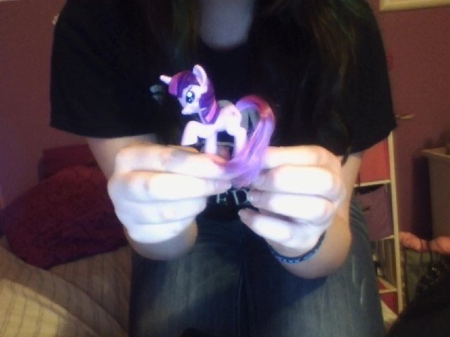 "Twilight Sparkle xD. guess who got weird looks in mickey d's today? THIS GAL XD.. a girl in ponytime? What a ""Rarity"" :3"