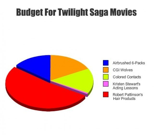 Twilight Budget. soooo true. Fitr ' ( MOVIES I Airbrushing Cl Colored Contacts I Kristen Acting Lessons I Robert Pattinson' s Hair Products. thumbs up for you funny sir