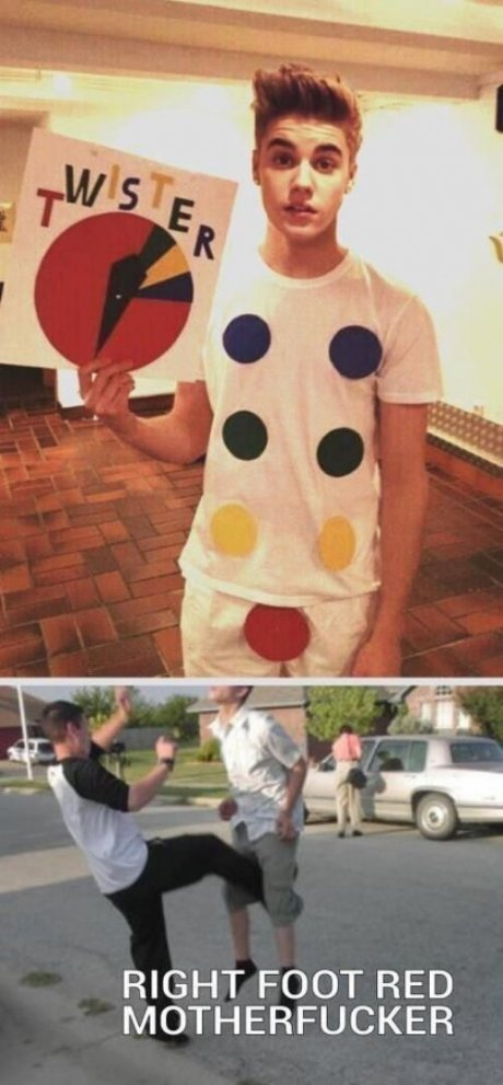 Twister. yeah. RIGHT FOOT RED MOTHERFUCKER. Why would you kick a lesbian in her vagina?