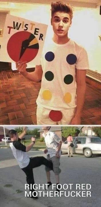 """Twister. Of course its not OC. This is FJ. RIGHT FOOT RED MOTHERFUCKER. Some guy makes a sexual twister costume: """"How clever. Win!"""" Justin Bieber makes a sexual twister costume: """"What a little cunt!"""" Pic related:"""