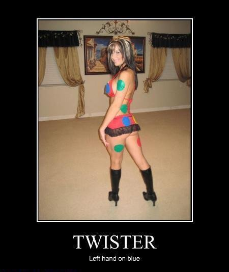 Twister. Im having an urge to play twister. Left hand can blue. sure wish i had 2 left hands