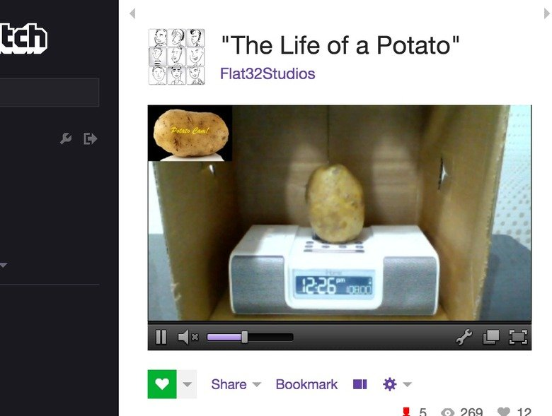 Twitch Live Streams a Potato?. Haven't lost faith in humanity yet? how about now?. E If Share LA Bookmark l El LA