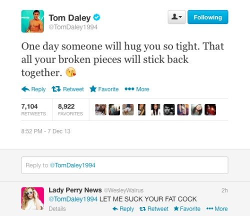 """Twitter. . Tom Daley E -In One day someone will hug you so tight. That all your broken pieces will stick back together. tii) In Reply """" Referee: f Favorite In M"""