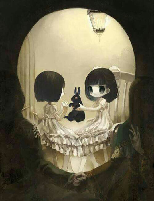Two Girls And Their Bunny. .. well this is both cute and really dark. Link to the artist stuff?