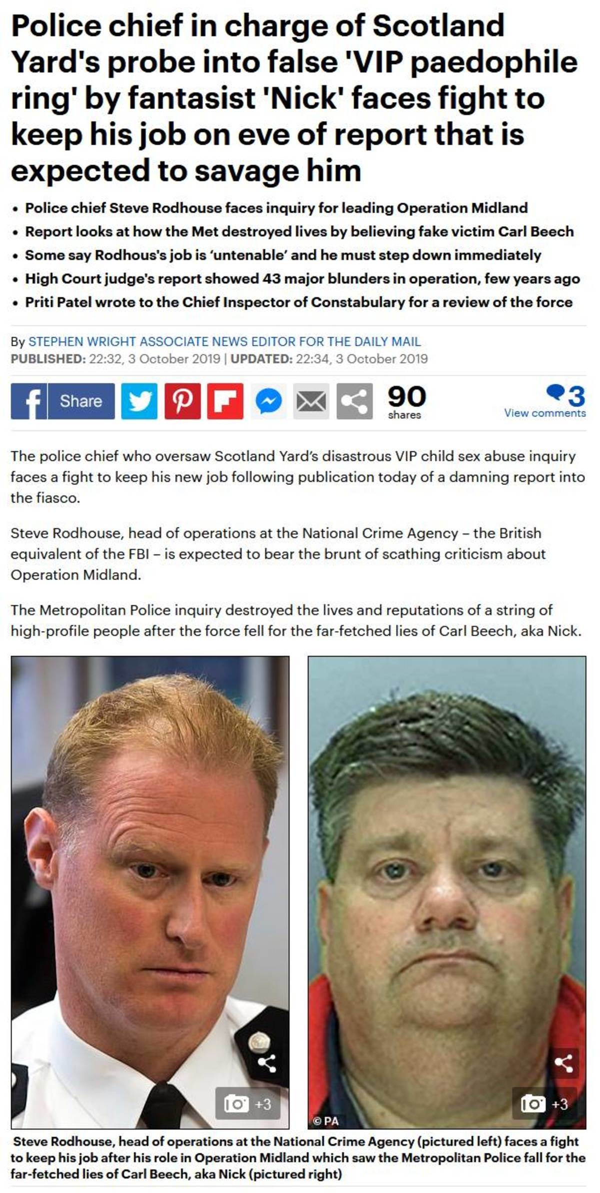 UK pedo cover-up. TFW you are investigating pedos And the pedos tell you you are investigating a fantasy And if you don't stop you are fired... So here's why Op Midland was a hilarious : The only people who came forward were a mentally ill fantastist, a fraudster, and a labour party activist. All three
