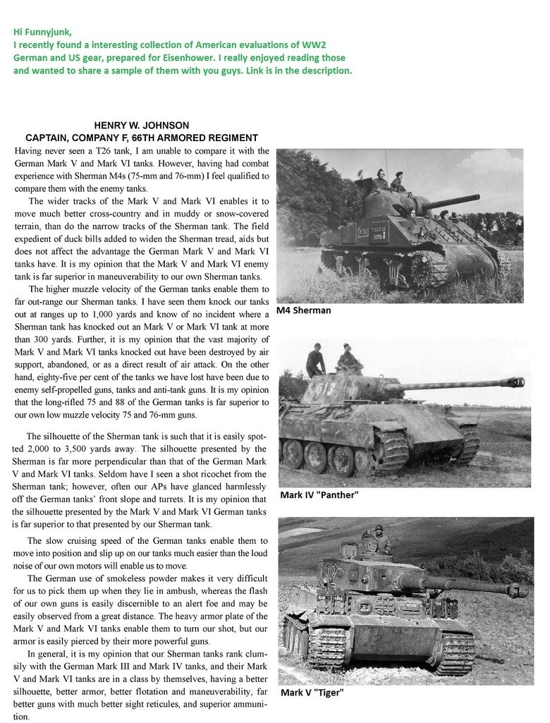 US Tank Evaluation. The posted paragraph is a free sample, i will post others if you like it.. Hi Funnyjunk, I recently found a interesting collection of Americ